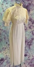 Antique Wedding Dress Crochet Lace Accents Puff Ecru Chiffon Sleeves Sx XS