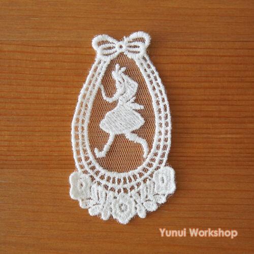 Alice Run Embroidery Cotton Lace Applique White Deco Mori Girl Tear Drop DIY