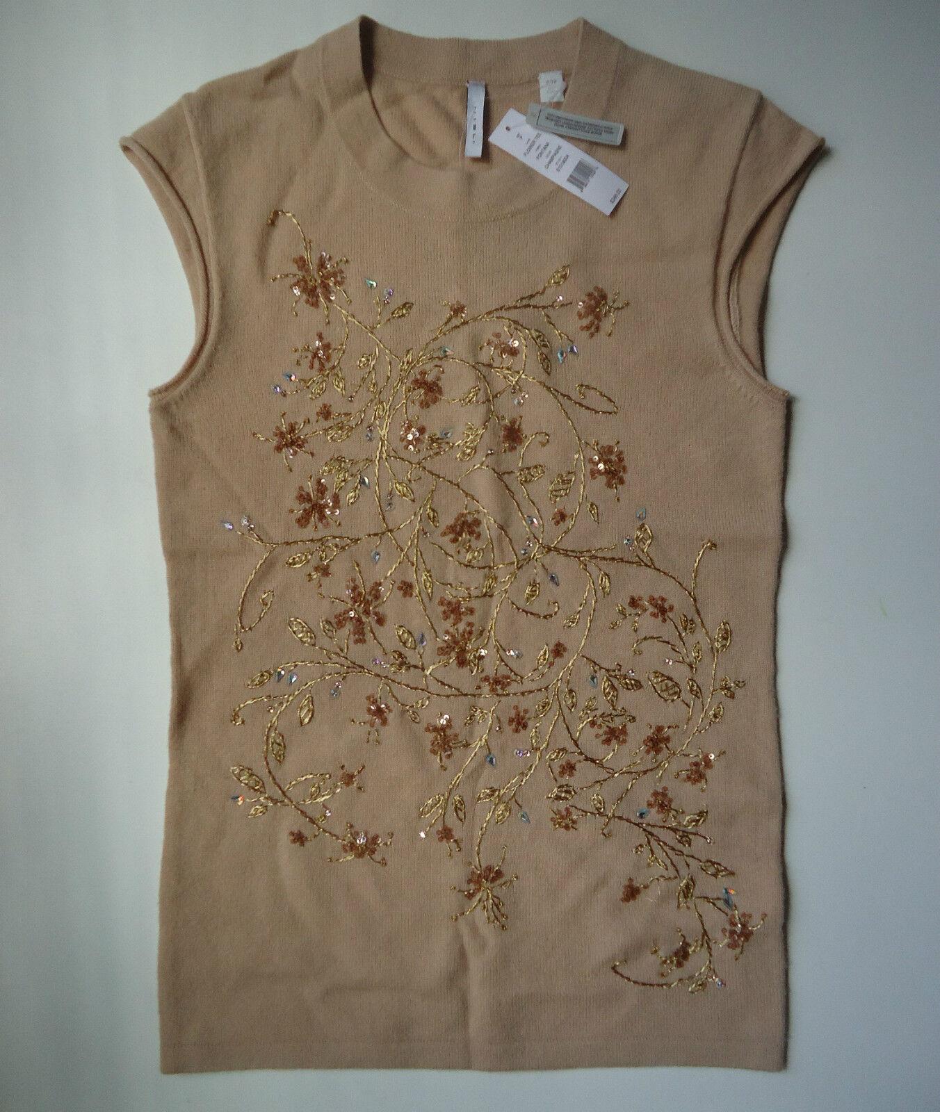NWT Iisli Crystal Swarovski Embroiderot Cashmere Tee Top Größe P