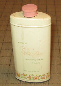 """Vtg (Pre-Zipcode) 5"""" Tall AVON WILD ROSE Perfume Talc - with Product - 4 Display"""