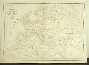 L'europe Sous Charlemagne 771-814 Carte Ancienne 1838 Ancient Map 45cm 38cm Texture Nette