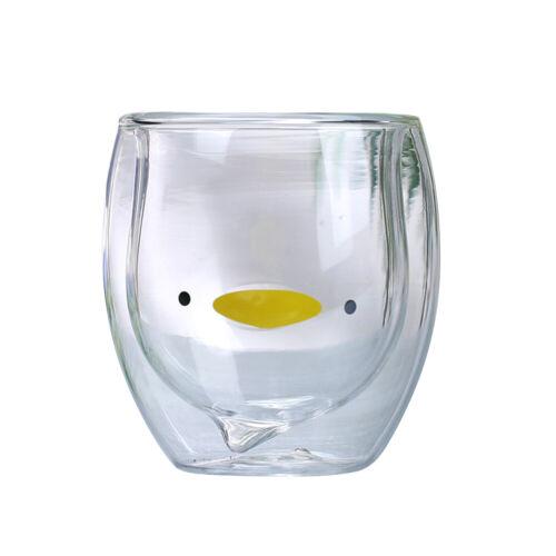 1 pc Glass Mug Cartoon Little Duck Lovely Double Wall Creative Teacup for Office