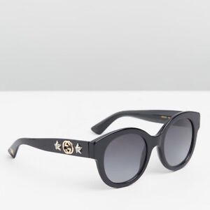 59af81a3ae Image is loading GUCCI-Polarized-Round-Frame-Acetate-Sunglasses-with-Stars-