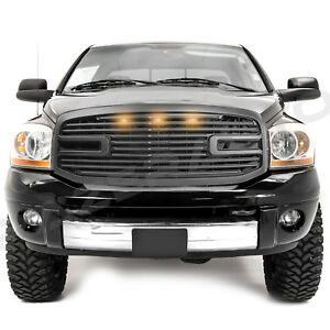 Matte-Black-Big-Horn-3x-LED-Grille-Replacement-Shell-for-06-09-RAM-2500-3500