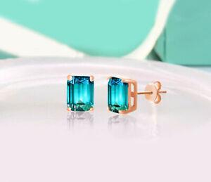 ORROUS-amp-CO-18K-Rose-Gold-Plated-Cubic-Zirconia-Emerald-Cut-Halo-Stud-Earrings