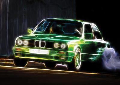 BMW E30 320I FRACTAL LIGHT ART A3 ART PRINT POSTER YF5081