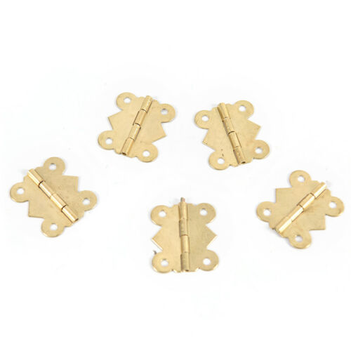 10X Brass Color Mini Butterfly Hinges Cabinets Drawers Jewelry Box DIY-Repair