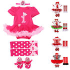 Newborn Baby Girl 1st Birthday Romper Bodysuit Dress Party Cake 4PCS Outfits Set