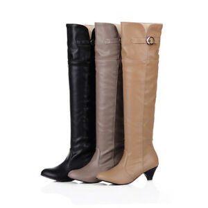 Womens-Knee-High-Boots-Casual-Buckle-Block-Low-Heel-Long-Boot-Round-Toe-Shoes