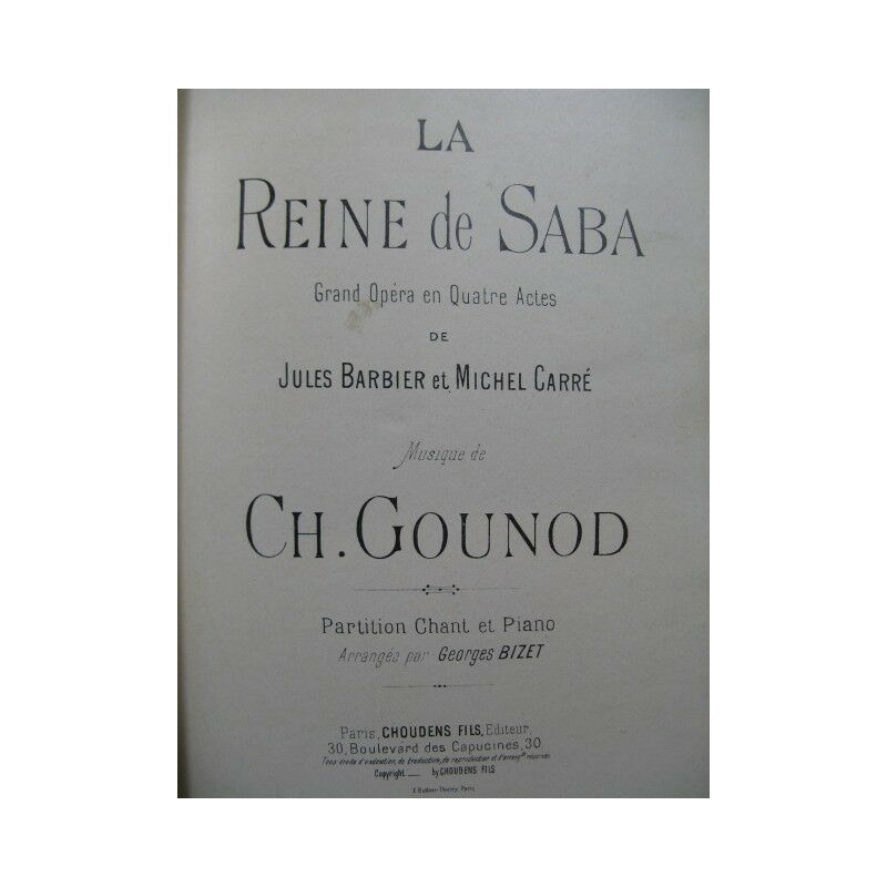 Gounod Charles die Königin der saba opéra Piano chant 19 Partitur Sheet Music
