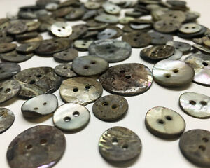15mm-Shell-Buttons-Smokey-Grey-Vintage-Mother-of-Pearl-Sewing-Craft-Bead-Making
