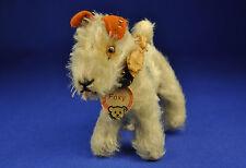 Steiff Foxy Fox Terrier, 1308,0, Knopf + Flage / button flag U.S.Zone, 1950-1953