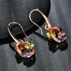 Womens-Ruby-Peridot-Amethyst-Drop-Dangle-Hook-Earrings-Rose-Gold-Filled-Gifts