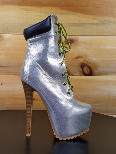 """Pazzle Gold Shimmer 6.5/"""" High Stiletto Heel 3/"""" Platform Lace Up Ankle Boot"""