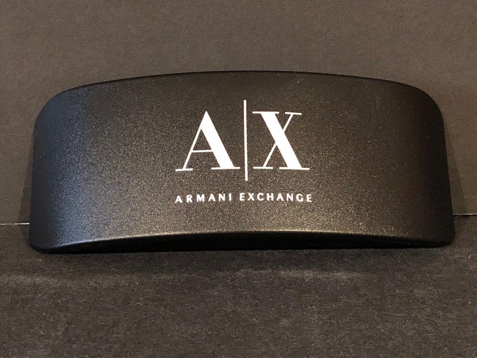 (1) AX ARMANI/EXCHANGE CLAM SHELL HARD EYEGLASS CASE BLACK/SILVER