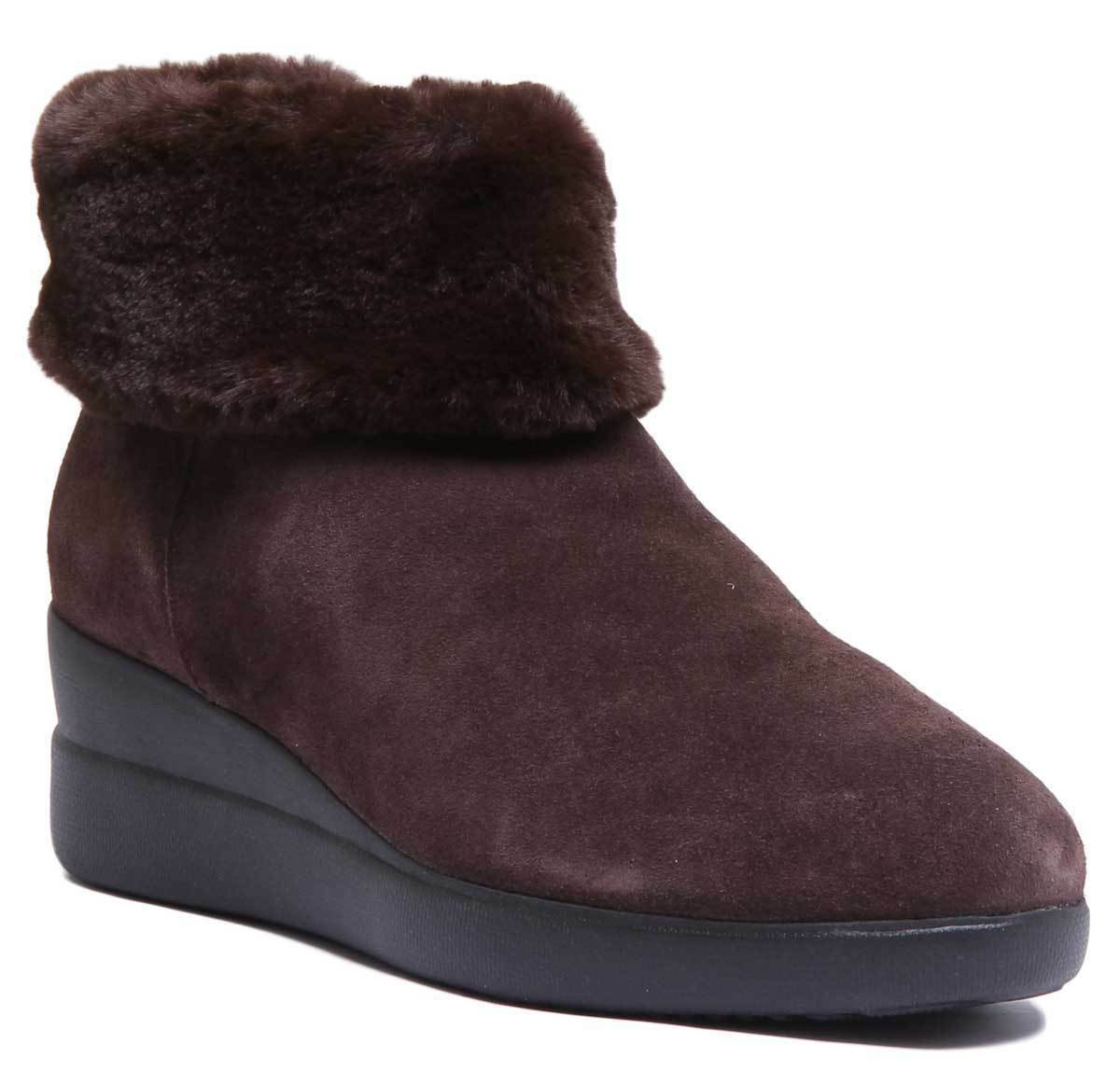 Geox Stardust damen Suede Wedge Winter Ankle Stiefel In Coffee Größe UK 3 - 8