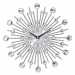 Wall Clock Metal Crystal Sunburst Design Home Art Decoration Modern Watch Clocks