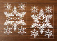 2 x REUSABLE EXTRA LARGE SNOWFLAKES Christmas Sticker Window Decoration A4 size