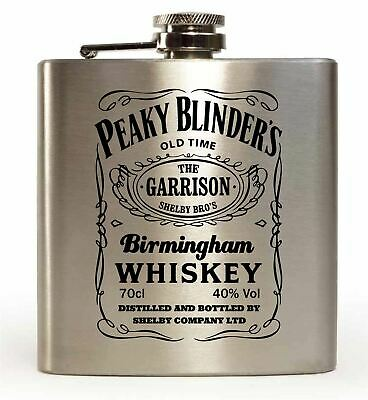 PEAKY BLINDERS GIN logo HIP FLASK black 6oz stainless steel shelby company NEW