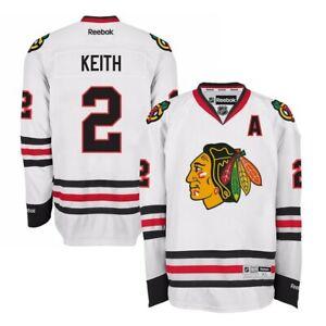 Duncan-Keith-Reebok-Chicago-Blackhawks-Official-Road-White-Premier-Jersey-Men-039-s
