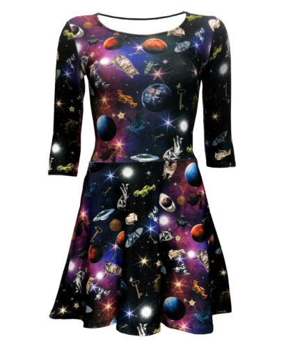 Women/'s Space Galaxy Space Ship planètes Angel statues Robe Patineuse Alternative