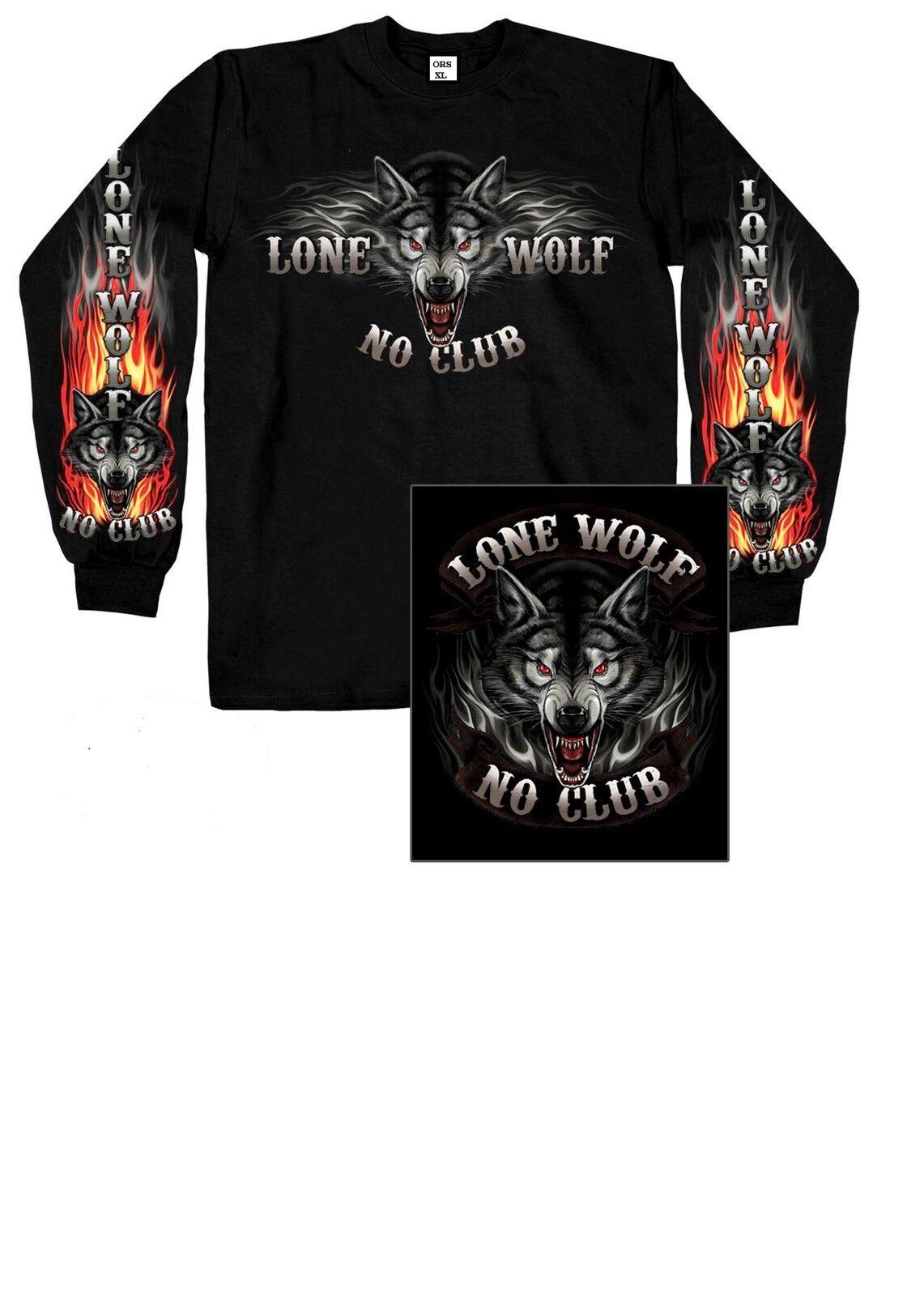 Longsleeve/Langarm T Shirt mit einem Chopper-,Bikermotiv Modell Lone Wolf