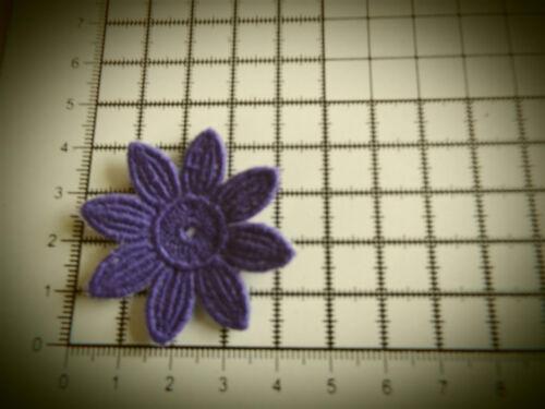 Applique 4cm Daisy-Flower Motifs Guipure Lace 5pcs Iron on // sew on Purple