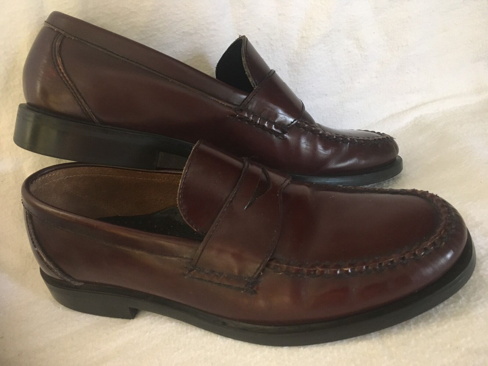Bass Zevon Penny US Loafer Mens US Penny 9 D Brown Leather Slip On Shoes aa7760