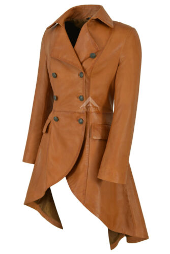 Tan 3491 Buckles Coat Edwardian Leather Jacket Real Ladies Back Gothic fPnqwBZ