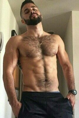 Shirtless Male Muscular Beefcake Hairy Chest Abs Beard