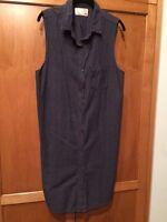 Rag & Bone/Jean SZ S Dark Blue Chambray Sleeveless Button Down Dress