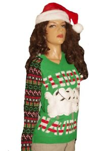 12fee8f5ab79c Womens Feliz Navidad LIGHT UP Santa Hat Ugly Christmas Sweater Party ...