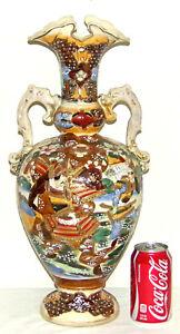 Antique Japanese Satsuma Samurai Warrior Urn Vase c.1910 Meiji Period Urn Vase