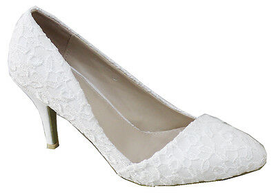 NEW IVORY LACE EMBROIDERY WEDDING BRIDAL HIGH HEEL COURT SHOES UK SIZES 3 - 8