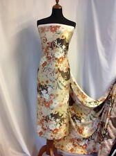 "NEW 100% Silk Crepe de Chine Satin Classic Floral Print Fabric 43"" 109cm Wide"