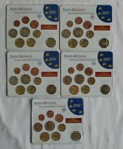 BRD Lot von 5 x KMS 2007 A,D,F,G,J mit 2 € Mecklenburg Vorp. Kpl. Stgl.(105957)