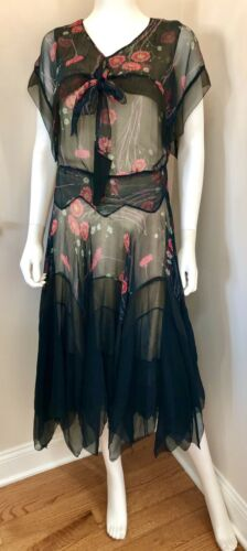 VTG 1930s SILK CHIFFON FLAPPER DRESS Bias-Cut Chem