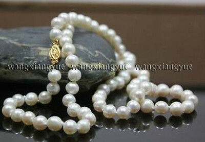 "Long 36"" 7-7.5mm Natural White Akoya Cultured Pearl Hand Knotted Necklace"