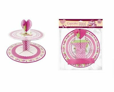 PINK FLORAL QUEEN OF CAKES 2 TIER CUPCAKE MUFFIN PARTY DISPLAY STAND QC1142