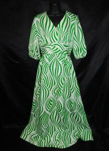 Vintage-60s-M-Green-White-Psychedelic-Stripe-Maxi-Dress-Empire-Puff-Sleeve-V
