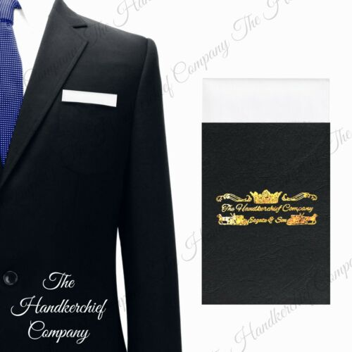 White Satin Straight Pocket Square Handkerchief Card Holder Suit Jacket Silky