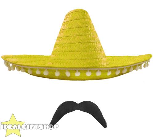 YELLOW MEXICAN SOMBRERO STRAW HAT POMPOMS ADD ACCESSORIES MOUSTACHE CIGAR