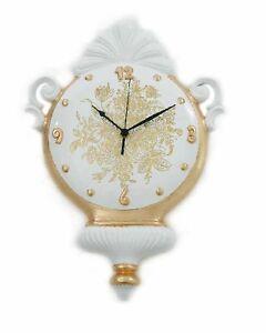 Orologio da parete via veneto ceramica foglia oro sveglia for Veneto arredo