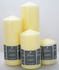 Details about Price's Church Altar Pillar Candle Large Round Table Candles  Long Burn Time