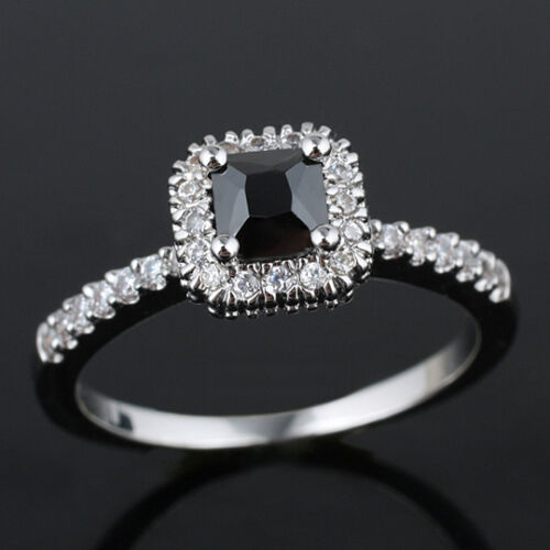 Square Stone Women 925 Sterling Silver Promise Ring Size Gift for Wife