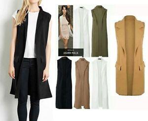 96d33ccac21c Image is loading New-Womens-Ladies-Crepe-Sleeveless-Waistcoat-Long-Blazer-