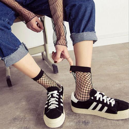 Women Black Fishnet Ankle High Socks Lady Mesh Lace Fish Net Short Socks JH