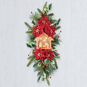 LED Lighted Christmas Nativity Scene Poinsettia Arrangement Door Wall Swag