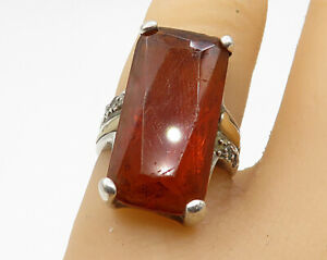 925-Sterling-Silver-Vintage-CZ-amp-Amber-Long-Solitaire-Ring-Sz-5-5-R5434