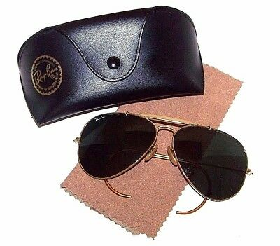Vintage B L Ray Ban W0229 Gold Shooter Outdoorsman Aviator G15 Sunglasses  6214 2054f24ae3